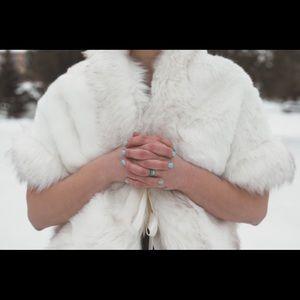 White faux fur shawl